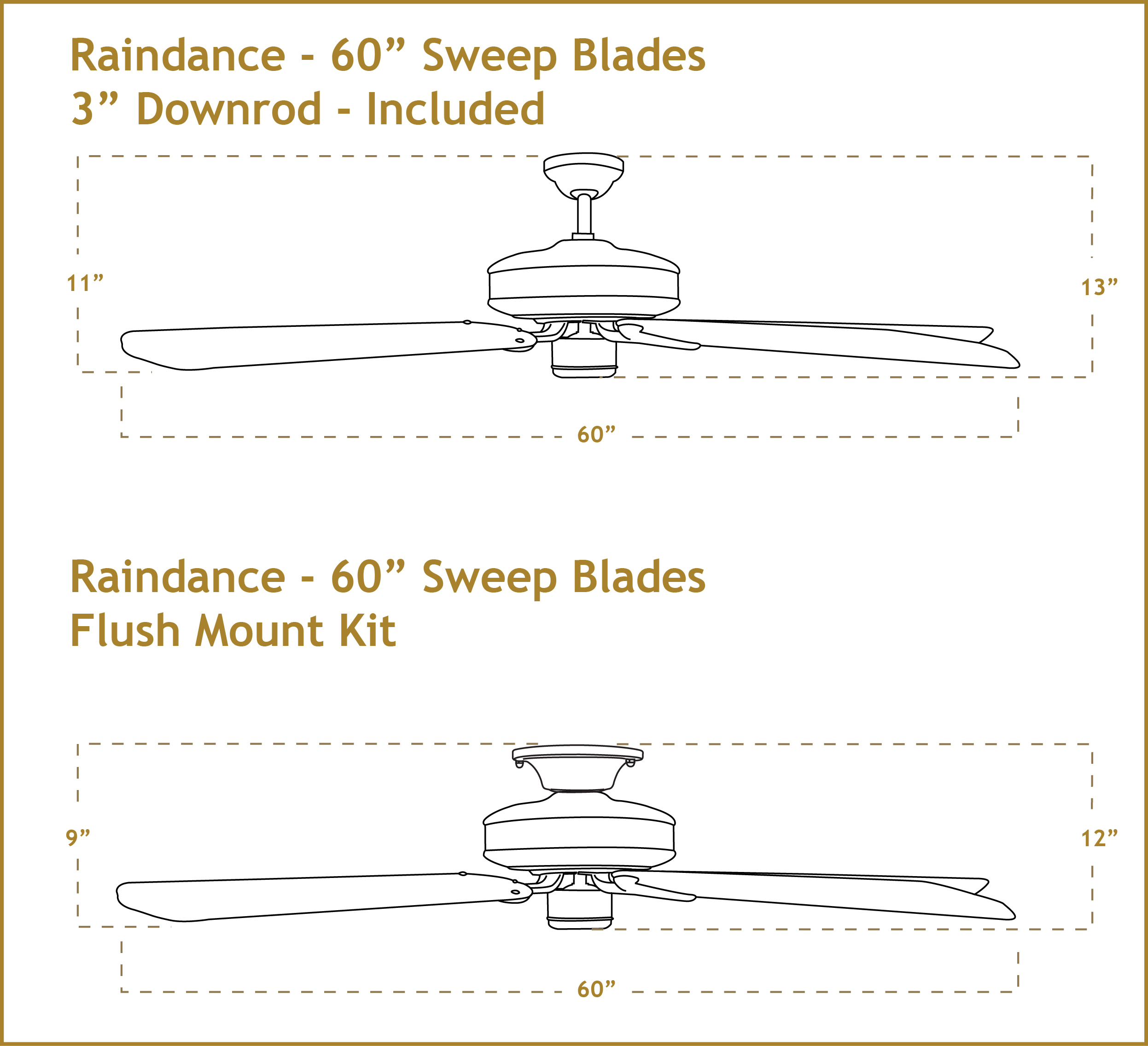 Raindance 60 inch ceiling fan dimensions