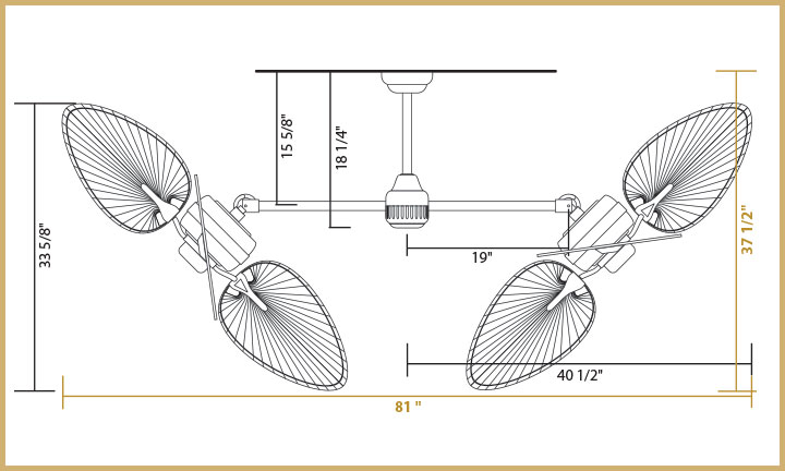 Twin Star III Dimensions 46 inch Blades - Angled Configuration