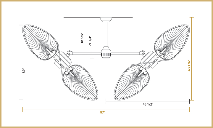 Twin Star III Dimensions 54 inch Blades - Angled Configuration