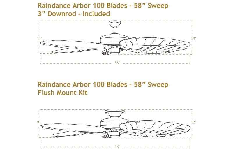Raindance Arbor 100 Ceiling Fan Dimensions