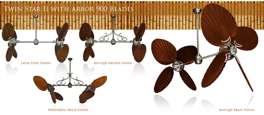 Double Ceiling Fan with Arbor 900 Wood Blades