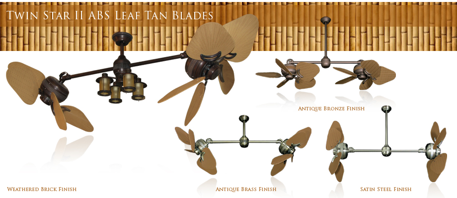 Double Ceiling Fan Outdoor 35 inch ABS Tan Blades