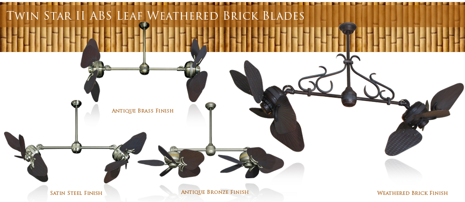 Double Ceiling Fan Outdoor 35 inch ABS Weathered Brick Blades