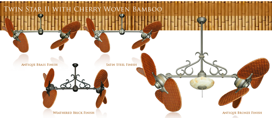 Double Ceiling Fan with Woven Bamboo Cherry Blades