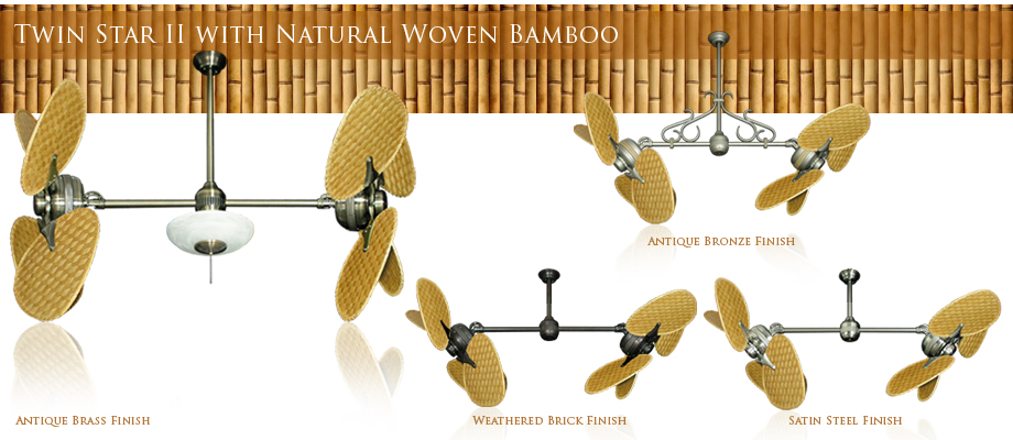 Double Ceiling Fan with Natural Woven Bamboo Blades