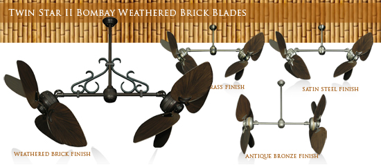 Double Ceiling Fan with Plastic ABS Weathered Brick Blades