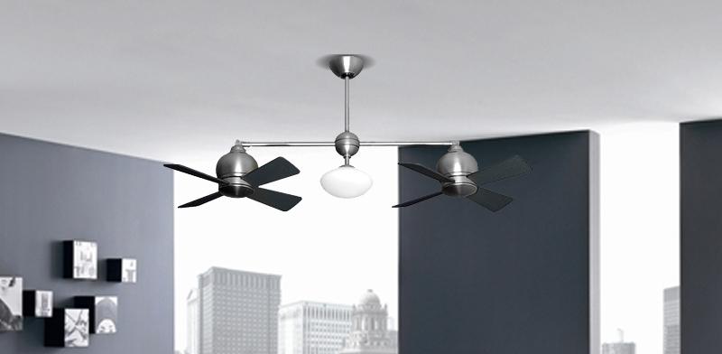 Metropolitan Small Double Ceiling Fan In Satin Steel By