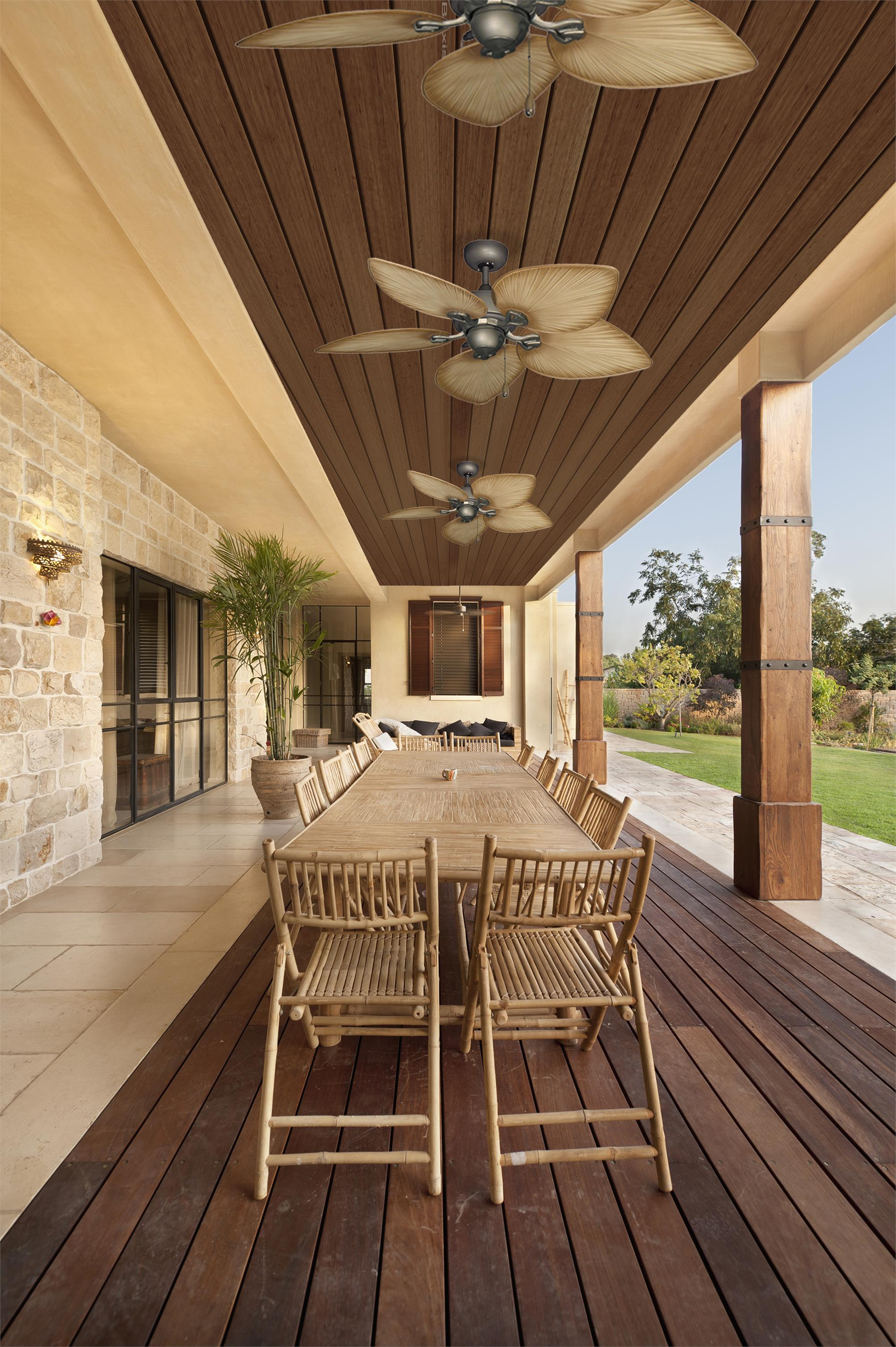 42 Inch Bombay Tropical Ceiling Fan With Tan Blades
