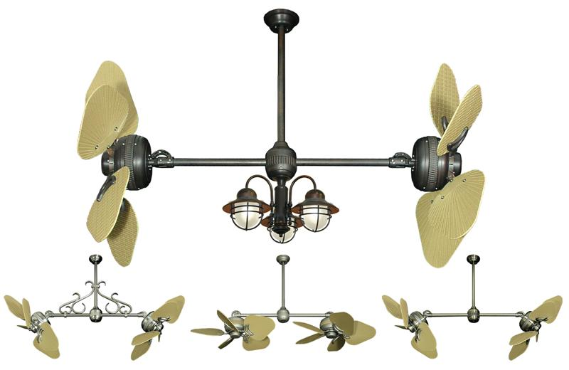 35 Inch Double Twin Star Tropical Ceiling Fan With Abs
