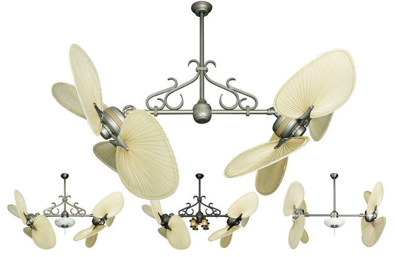 56 Inch Double Twin Star Tropical Ceiling Fan With Natural Palm Blades