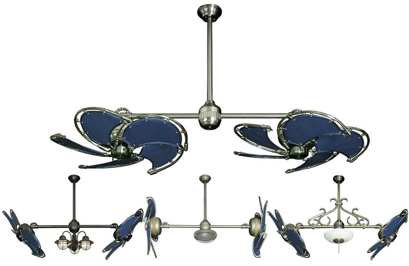32 Inch Double Twin Star Nautical Ceiling Fan With Blue Blades
