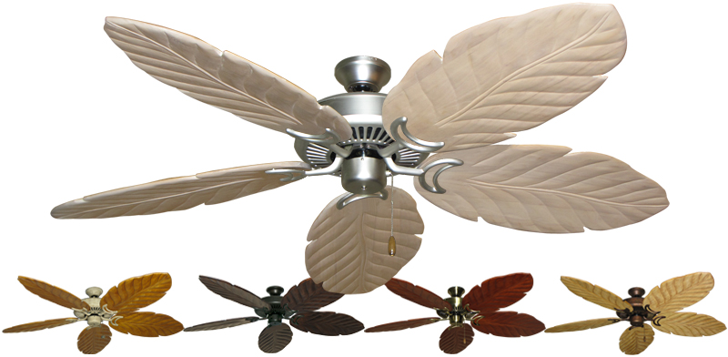 58 Inch Riviera Tropical Ceiling Fan Leaf Arbor 100 Carved