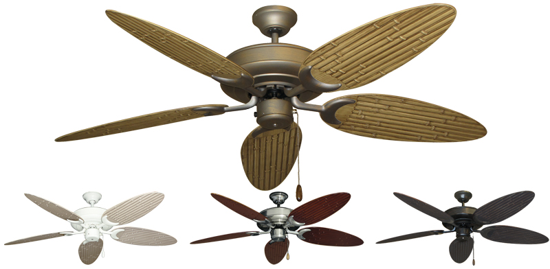 52 Inch Raindance Outdoor Ceiling Fan With Bamboo Palm Blades