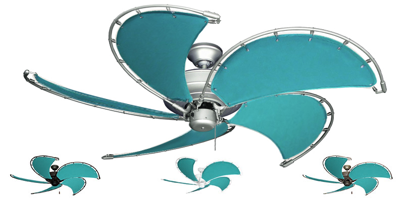 52 Inch Raindance Nautical Ceiling Fan Aquamarine Canvas Custom Blades