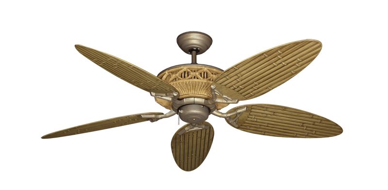 52 Inch Tiki Outdoor Tropical Ceiling Fan Bamboo Palm Blades