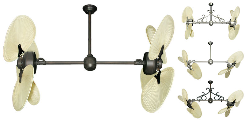 46 Inch Double Twin Star Iii Tropical Ceiling Fan With Natural Palm Blades
