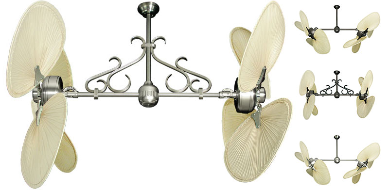 54 Inch Double Twin Star Iii Tropical Ceiling Fan With Natural Palm Blades
