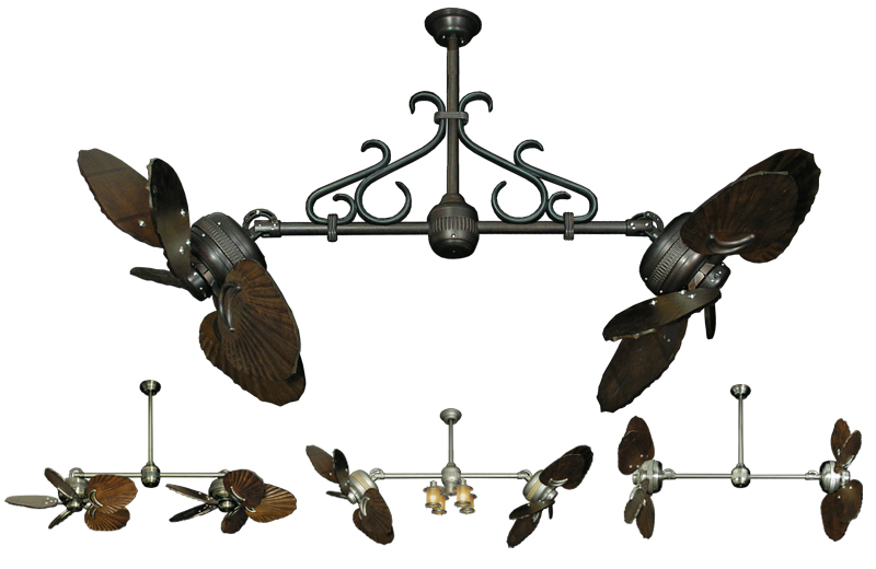 Gulf Coast Twin Star Ii Double Ceiling Fan W 35 Arbor Dark Walnut Blades