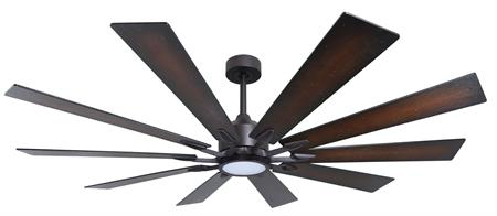 66 inch Fusion Ceiling Fan - Oil Rubbed Bronze and Distressed Walnut Blades and Light