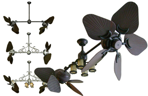 Twin Star dual outdoor ceiling fan with 35