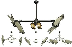 32 inch double twin star nautical ceiling fan with khaki blades dual nautical ceiling fan with khaki canvas blades in 32 inch span mozeypictures Choice Image