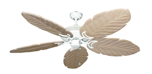 Atlantis Pure White Tropical Ceiling Fan with Arbor 100 Whitewash Blades
