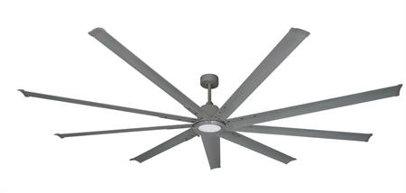 96 inch Liberator Ceiling Fan - Brushed Nickel by TroposAir with light