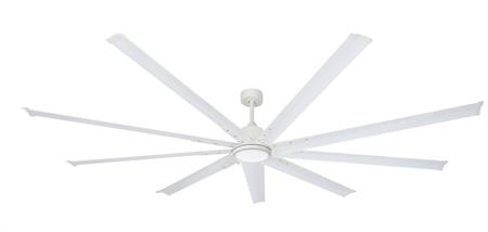 96 inch Liberator Ceiling Fan - Pure White by TroposAir with light