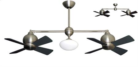 24 inch Metropolitan Double Ceiling Fan - Satin Steel