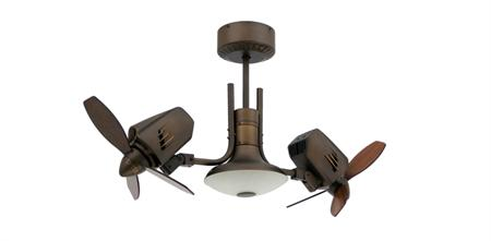 TroposAir Mustang II Dual Motor Oscillating Rubbed Bronze Ceiling Fan