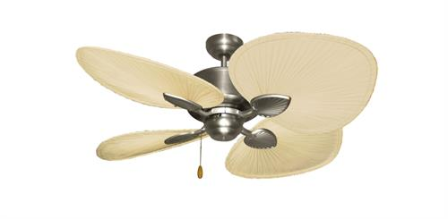 Palm Breeze II Satin Steel Tropical Ceiling Fan w/ 48