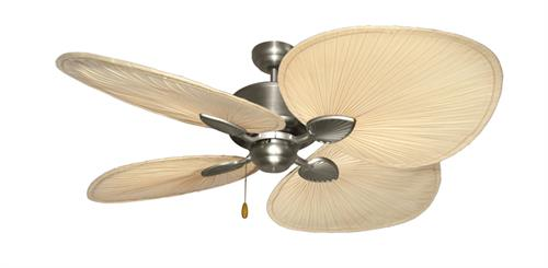 Palm Breeze Satin Steel Tropical Ceiling Fan w/ 56