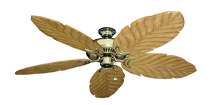 Riviera Bright Brass Tropical Ceiling Fan with Arbor 100 Maple Blades