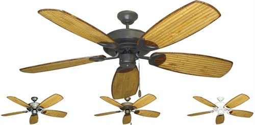 "Raindance Tropical Ceiling Fan w/ 52"" Sweep Arbor 275 Bamboo Blades"