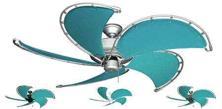 52 inch Raindance Nautical Ceiling Fan - Aquamarine Canvas Custom Blades