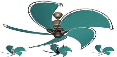52 inch Raindance Nautical Ceiling Fan - Persian Green Custom Canvas Blades