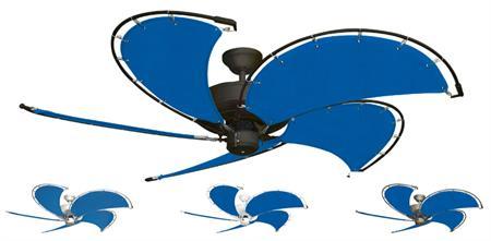 52 inch Raindance Nautical Ceiling Fan - Sunbrella Pacific Blue Custom Canvas Blades