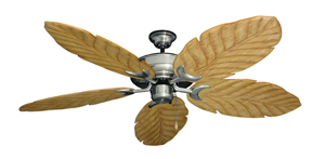 Raindance Satin Steel Tropical Ceiling Fan with Arbor 100 Maple Blades