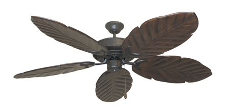 Raindance Weathered Brick Tropical Ceiling Fan with Arbor 100 Dark Walnut Blades