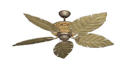 52 inch Tiki Outdoor Tropical Ceiling Fan - Venetian Leaf Blades