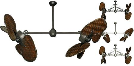 46 inch Twin Star III Double Ceiling Fan - Dark Woven Bamboo Blades