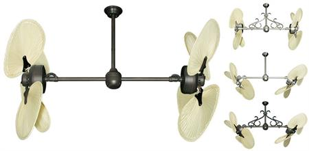 46 inch Twin Star III Double Ceiling Fan - Natural Palm Blades