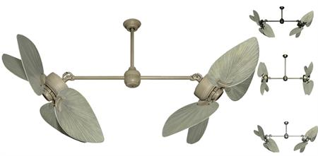 50 inch Twin Star III Double Ceiling Fan - Bombay Driftwood Blades
