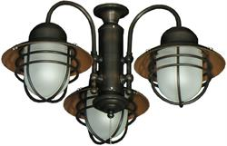 3 Lantern ceiling fan adaptable outdoor light kit #362 in oil rubbed bronze