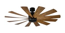 60 inch Windflower Ceiling Fan - Matte Black Finish and Koa Blades by Modern Forms