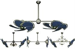 Dual Nautical Ceiling Fan with Blue Canvas Blades in 32 inch span
