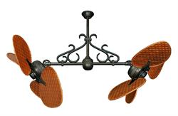 Double Fan Oil Rubbed Bronze, Scroll, 46 inch Woven Cherry Bamboo Blades