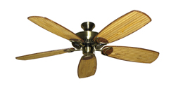 Riviera Antique Brass Tropical Ceiling Fan with Arbor 275 Bamboo Blades
