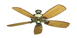 Riviera Bright Brass Tropical Ceiling Fan with Arbor 275 Bamboo Blades