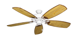 Riviera Pure White Tropical Ceiling Fan with Arbor 275 Bamboo Blades